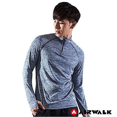 【AIRWALK】男款吸排開襟長T-中藍色