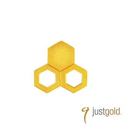 鎮金店Just Gold 搖滾蜂格純金系列 黃金單耳耳環(三組-純金)