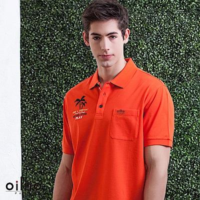 oillio歐洲貴族 短袖休閒刺繡POLO衫 吸濕排汗網眼透氣 橘色