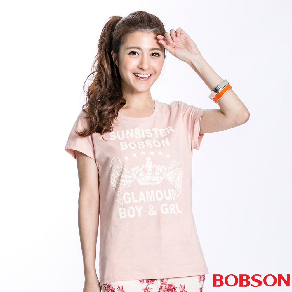 BOBSON 女款皇冠印圖短袖上衣