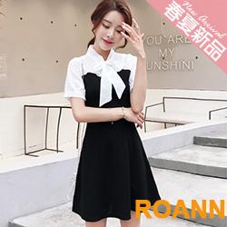 OL風假兩件蝴蝶結綁帶短袖洋裝 (共二色)-ROANN