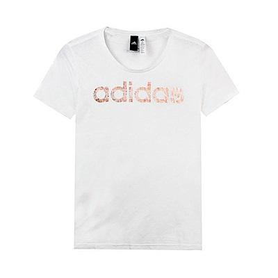Adidas 女 FOIL LINEAR 圓領T(短)