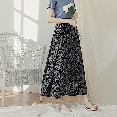 滿版印花腰鬆緊雪紡長裙-OB大尺碼