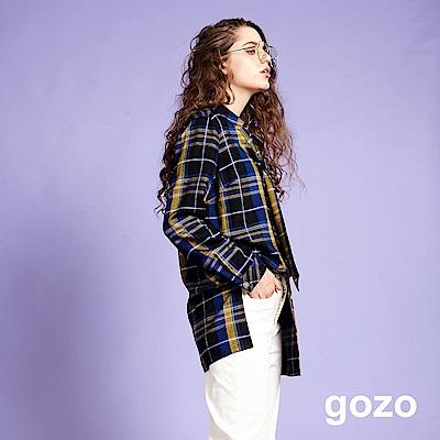 gozo 復古英倫領帶文字印花格紋襯衫(二色)