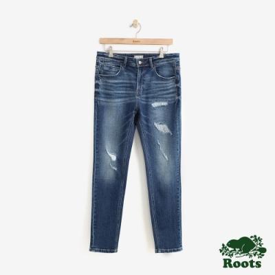 Roots男裝 DENIM合身刷破牛仔長褲-藍