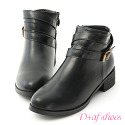D+AF 獨特百搭.層次感釦環帶低跟短靴*黑