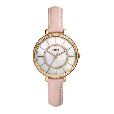 FOSSIL 晶彩氣質貝殼皮革腕錶-玫瑰金x粉紅色-ES4455/36mm