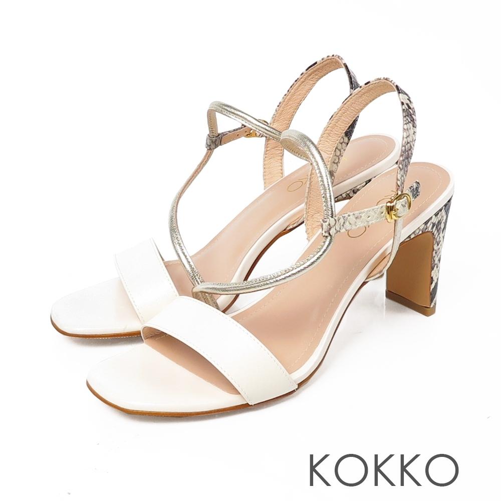 KOKKO 獨特魅力異材拼接方頭細帶涼拖鞋 椰奶白