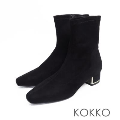 KOKKO - 繁華卡薩布蘭卡金屬跟方頭襪靴-麂皮黑
