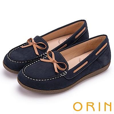ORIN 樂活渡假 柔軟牛皮透氣帆船鞋-藍色