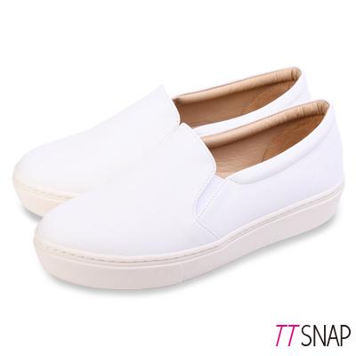 TTSNAP厚底樂福鞋-MIT微尖頭修長真皮休閒鞋 白