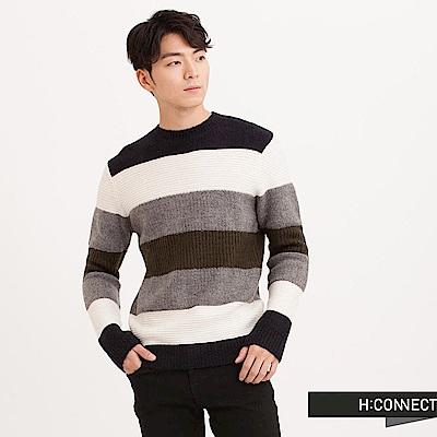 H:CONNECT 韓國品牌 男裝 - 跳色橫紋針織毛衣-藍(快)