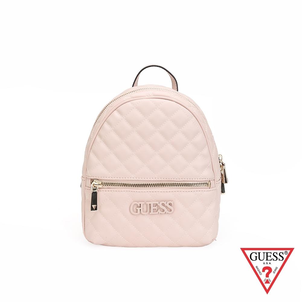 GUESS-女包-素面菱形壓紋後背包-粉紅