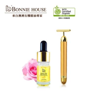 Bonnie House 玫瑰原精5ml+黃金T字導入美肌按摩棒