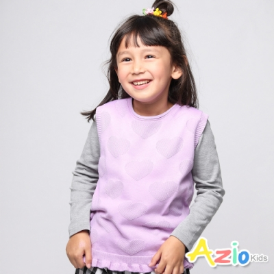 Azio Kids 女童 背心 刺繡愛心波浪下擺背心 (紫)