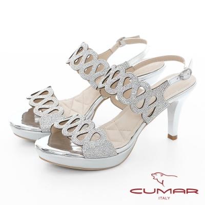 【CUMAR】情迷哈瓦那 - 兩截式一字帶鏤空透膚防水台高跟涼鞋-銀