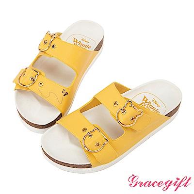 Disney collection by Grace gift造型飾釦雙帶休閒拖鞋 黃