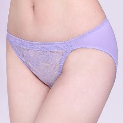 思薇爾 沁甜花漾系列M-XL蕾絲低腰三角內褲(宇宙紫)