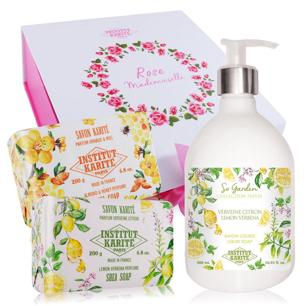 IKP 巴黎乳油木 檸檬馬鞭草花園香氛液體皂500ml+手工皂200gX2再贈原廠精美禮盒