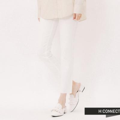H:CONNECT 韓國品牌 女裝 -不收邊純色直筒褲-白
