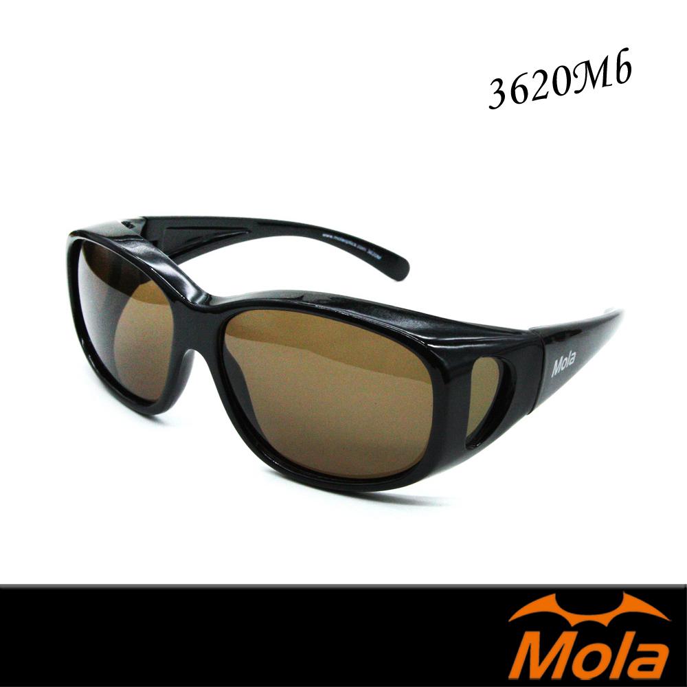 MOLA 摩拉包覆式偏光太陽眼鏡 套鏡 一般至大臉 男女近視可戴-3620Mb