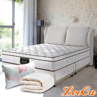 (破盤組)LooCa 厚乳膠天絲三線獨立筒床墊-雙人5尺
