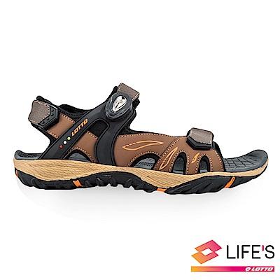 LOTTO 義大利 男 LIGHT-FOOTED 磁扣戶外涼鞋 (咖啡)