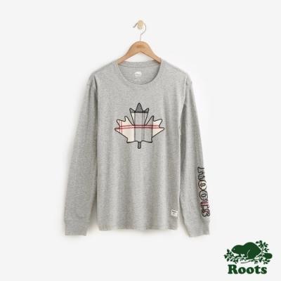 Roots 男裝-斯莫克胡長袖T恤-灰