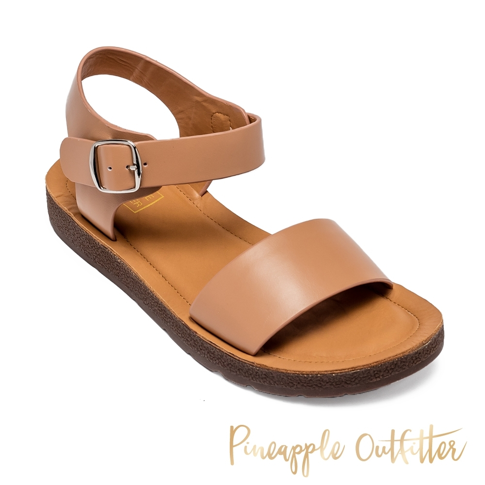 Pineapple Outfitter-SABA 夏日休閒寬版一字帶涼拖鞋-卡其棕
