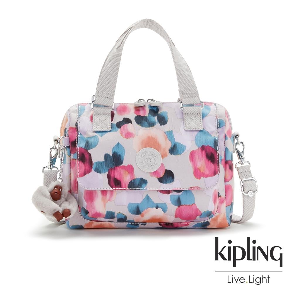 Kipling 繽紛夢幻花繪翻蓋手提側背包-ZEVA