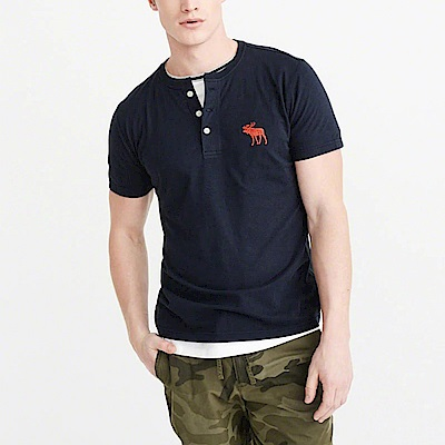 A&F 經典電繡大麋鹿Henly亨利短袖T恤-深藍色 AF Abercrombie