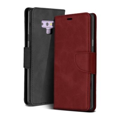 三星 Galaxy Note 9 復古 素色 可插卡 翻蓋 磁吸 手機 皮套 支架 軟邊 手機殼 紅色款 (Samsung Note 9手機殼 Note 9保護殼)