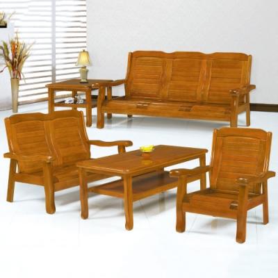MUNA 5011型柚木色實木組椅(三人座)  178X73X92cm