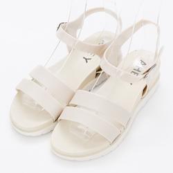 River&Moon防水鞋-簡約雙線條內增高羅馬涼鞋-米