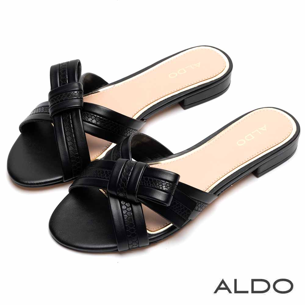 ALDO 原色不對稱蝴蝶領結雙色夾心涼鞋~尊爵黑色