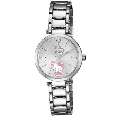 HELLO KITTY 凱蒂貓 水玉點點甜美手錶-銀/32mm
