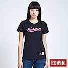 EDWIN 復古仿繡花LOGO 短袖T恤-女-黑色