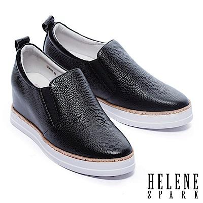 休閒鞋 HELENE SPARK 簡約質感全真皮內增高厚底休閒鞋-黑