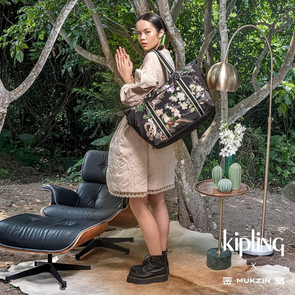 Kipling X MUKZIN 密扇聯名系列花鳥尋仙-神秘黑色手提側背包-ART M