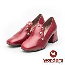WONDERS-小方頭素面鉚釘跟鞋