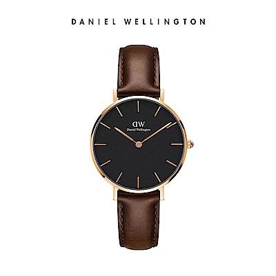 DW 手錶 官方旗艦店 32mm玫瑰金框 Classic Petite 深棕真皮皮革