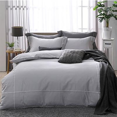 LASOL睡眠屋-300織雙色刺繡設計款精梳棉 加大兩用被床包四件組 紳士灰