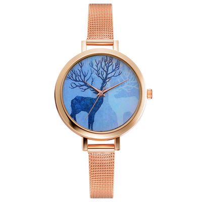 Watch-123 小鹿迷旅無時標玫金米蘭帶手錶