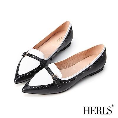 HERLS 全真皮復古撞色沖孔尖頭樂福鞋-黑色