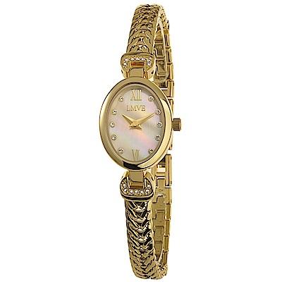 LMVE 麗緻海洋晶鑽時尚腕錶-珍珠母貝白/20mm