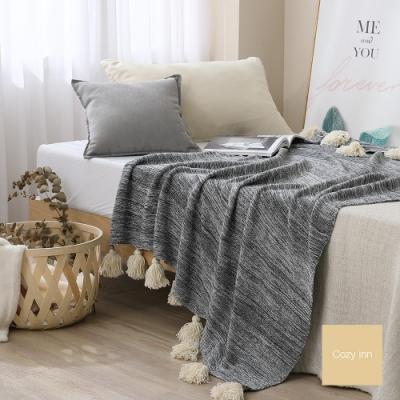 Cozy inn 純棉漸變流蘇針織毯-鐵灰