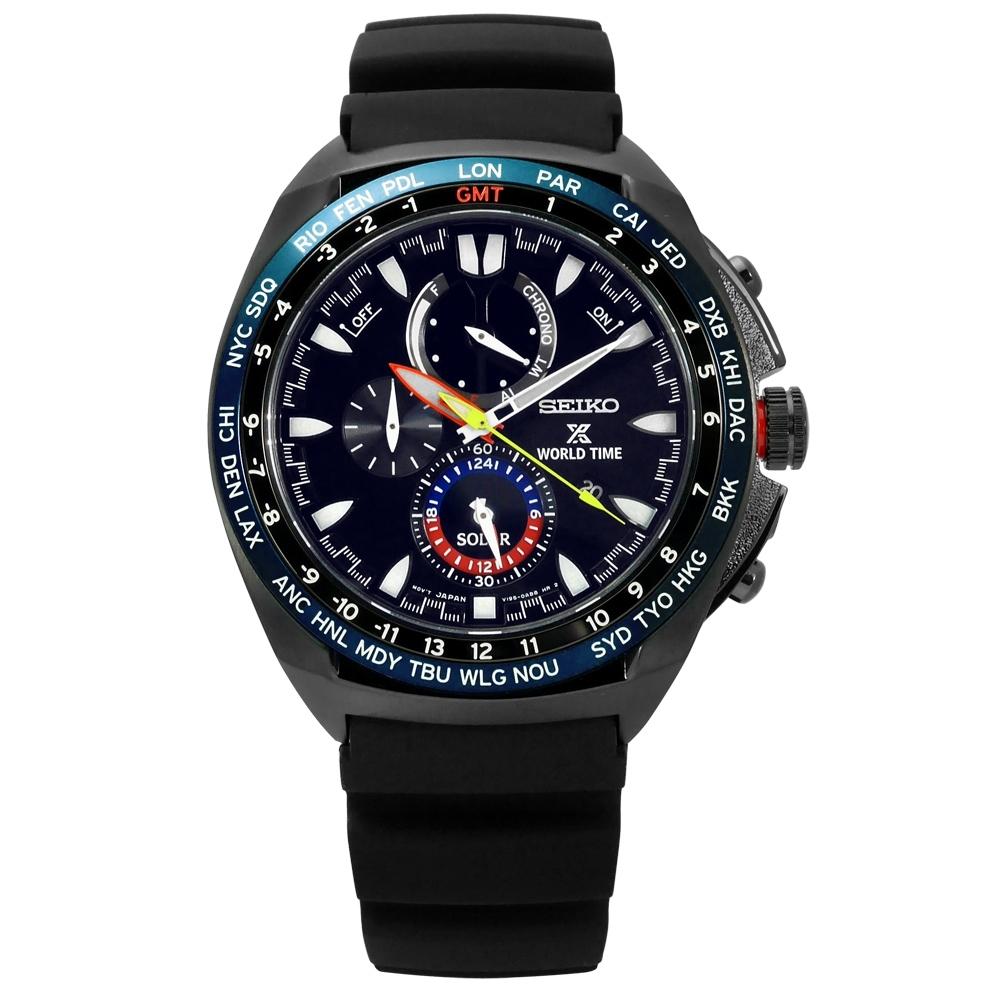 SEIKO 精工 PROSPEX 衝鋒極限環保太陽能矽膠手錶-黑色/44mm