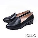 KOKKO  - 英倫復古真皮舒壓樂福跟鞋 - 經典黑