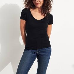 海鷗 Hollister HCO 經典刺繡海鷗V領素面短袖T恤(女)-黑色