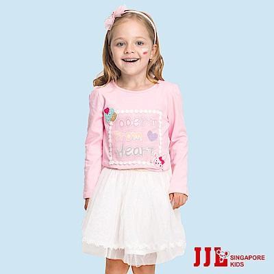 JJLKIDS  杯子蛋糕貼布蕾絲上衣(粉紅)